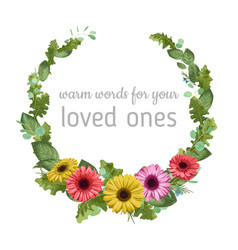 floral watercolor template wreath frame gerbera vector image