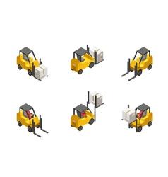 Forklift truck set vector