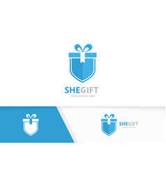 Gift and shield logo combination present vector