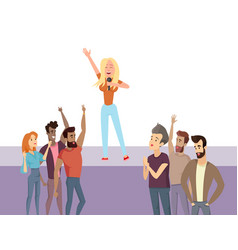 girl singing on stage with group of people vector image