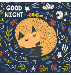 good night card with a cute sleeping fox vector image