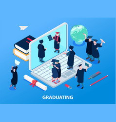 Graduating students and degree concept vector