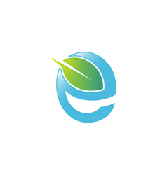 green e letter leaf blue logo vector image