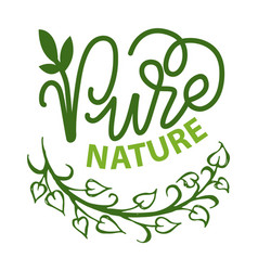 green sticker nature emblem eco poster vector image
