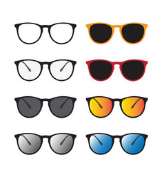 group of an glasses and sunglasses isolated on vector image