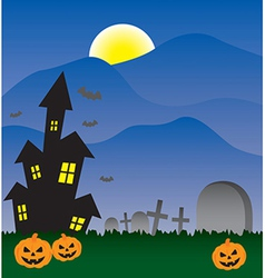 Halloween invitation with haunted house and moon vector