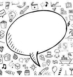Hand drawn bubble speech with doodle objects vector image