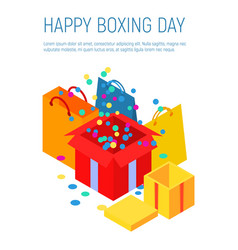 Happy boxing day concept background isometric vector