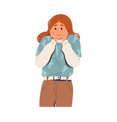Happy surprised woman with wow face expression vector