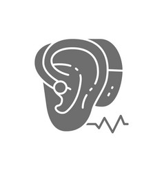 Hearing aid gray icon isolated on white vector