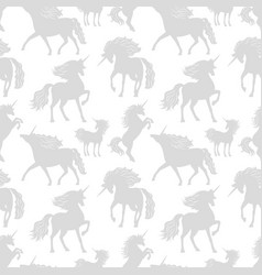 horses unicors gray silhouettes seamless vector image