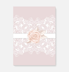 invitation card with lace decoration for wedding vector image