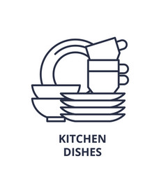 kitchen dishes line icon concept kitchen dishes vector image