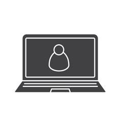 laptop user glyph icon vector image
