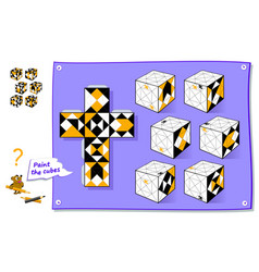 Logic puzzle game 3d paint white faces vector