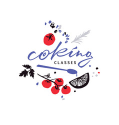 Logotype for cooking classes with food vector