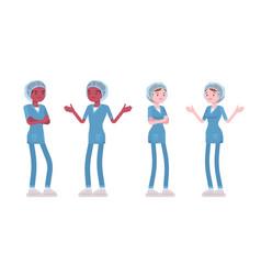 Male female nurse in negative emotions vector