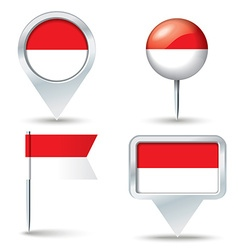 Map pins with flag of Monaco vector image