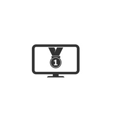 medal icon with monitor vector image