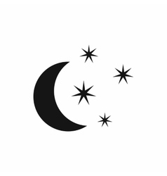 Moon and stars icon simple style vector image
