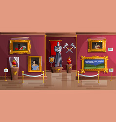 museum exhibition room cartoon vector image