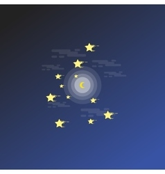 Night scenery star and moon outline vector