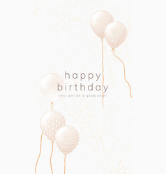 Online birthday greeting template with white gold vector