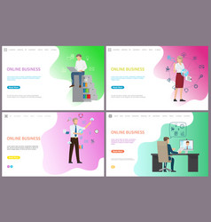 online business working male laptop searching vector image