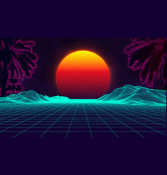 palms retro on purple background vintage computer vector image