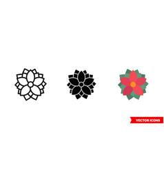 poinsettia icon 3 types isolated sign vector image