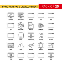 Programming and developement black line icon - 25 vector