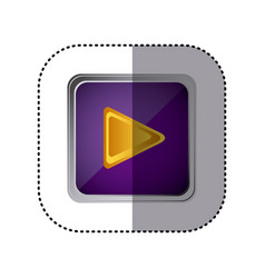 purple emblem play button vector image