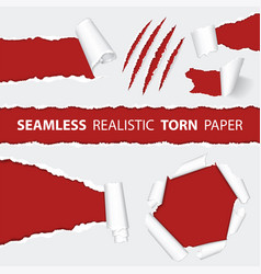 Realistic seamless torn paper and scratch claws vector