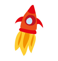 Rocket flying drawing icon vector