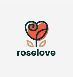 rose flower love heart valentine logo icon vector image