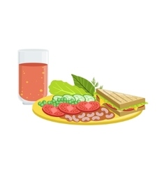 Sandwich Vegetables And Tomato Juice Breakfast vector image