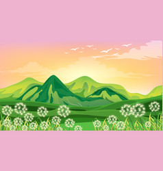 scene with green mountains and field at sunset vector image