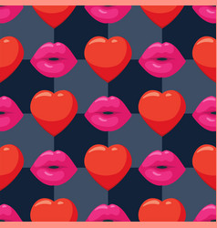 seamless background with woman pink lips and vector image
