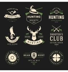 Set hunting and fishing labels badges logos vector