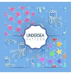 Set of seamless sea pattern with colorful vector image