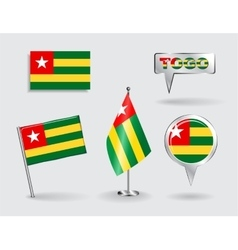 Set of Togolese pin icon and map pointer flags vector