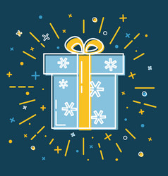 Shining gift box icon with snowflakes in flat vector