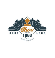 Shoe shop logo estd 1963 vintage badge for vector