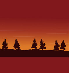 Silhouette of tree lined scenery vector