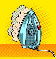 Steam clothes iron pop art style vector