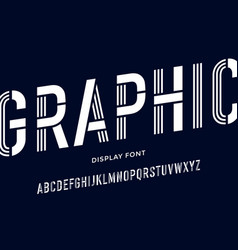 Stencil font black and white condensed alphabet vector