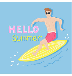 summer beach poster with surfer on surfboard vector image