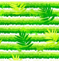 Summer green leaves and painted stripesseamless vector image