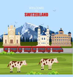 switzerland landscape background famous vector image