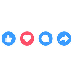 Thumb up heart comment repost icons vector